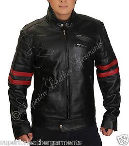 Mens Fight Club Retro Hybrid Mayhem Red Stripe Motorcycle Black Leather Jacket