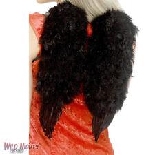 FANCY DRESS ACCESSORY # ADULT HALLOWEEN BLACK FEATHER ANGEL WINGS