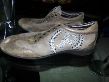 POLLINI BEAUTIFUL TAUPE LEATHER/SUEDE SNEAKERS SZ 39/8.5