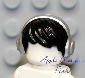 NEW Lego Boy Minifig Tousled BLACK HAIR Side Swept Head Gear w/Head Phones