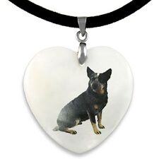 Australian Cattle Dog Natural Mother Of Pearl Heart Pendant Necklace Chain PP228