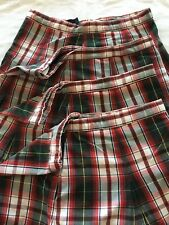 Becky Thatcher School Uniform Skirt Lot Of 4 Size 16 Pleated Green and Red Plaid