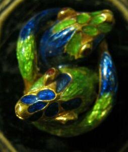 Italy 18K AL 166 Morosetti GREEN BLUE ENAMEL DOUBLE SNAKE Single Clip Earring