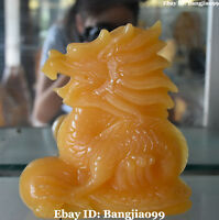Chinese Natural Yellow Jade Fengshui Dragon Loong Dragons Bead Animal Statue