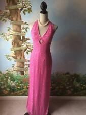 SCALA Women's  Pink Silk Sequin Evening Halter Dress Size M