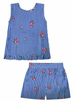 Girls Floral Stripe Set T-shirt and Shorts 2 Piece Blue Ages 12 Months - 6 Years