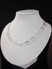 "Triple Strand Ladies Statement Necklace 925 Sterling Silver 17"" GIft Box UK"