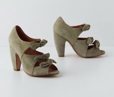 ANTHROPOLOGIE CONVERGED BOW PEEP TOES LUCKY PENNY HEELS SHOES MINT GREEN 41