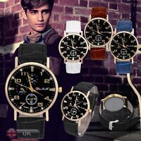 New Fashion Men's Date Faux Leather Stainless Steel Business Quartz Wrist Watch