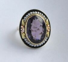 Vintage 14k  two tone Gold  Amethyst Pearl Ring Size 6.75