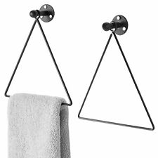 Modern Wall-Mounted Triangle Black Metal Hand Towel Ring, Set of 2