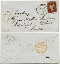 GB QV PENNY RED Perf 16 PLYMOUTH E SPOON DUPLEX + STONEHOUSE UDC in YELLOW 1854