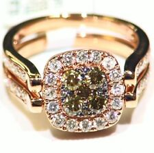 Vintage 14K Solid Gold Natural Fancy Diamond Halo Flip Engagement Ring 1.97CT