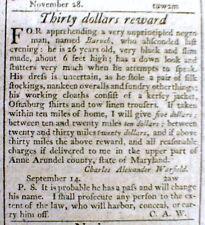 1797 MARYLAND newspaper w 2 RUNAWAY SLAVE REWARD ADs from ANNE ARUNDEL COUNTY
