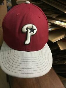 New Era 59Fifty Phillies MLB Baseball Fitted Hat Adult Size 7 H-1