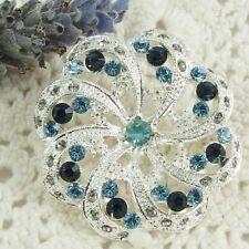 Pretty Little Flower BROOCH Textured Silver tone, Blue & tiny green? rhinestones