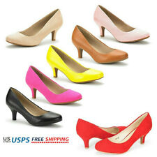 Women's Round Toe Slip On Wedding Party Low Stilettos Heel Dress Pump Shoes