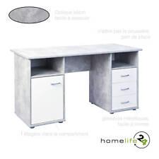 Bureau PC ordinateur avec tiroirs porte et compartiments béton gris clair bla...