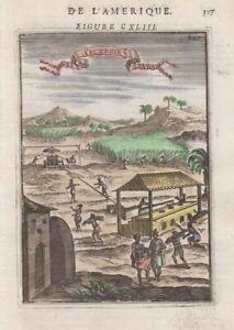 1683 Fine Mallet Engraving of Sugar Plantation, West Indies