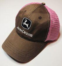 New John Deere Women's Charcoal Gray & Neon Pink Mesh Trucker Hat Cap One Size