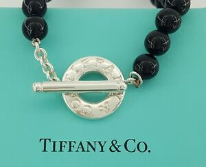 """Tiffany & Co. Toggle Sterling Silver 8mm Black Onyx Beads Necklace 17"""""""