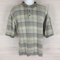 IZOD Golf Men's XL Green Multicolor Check Thick Cotton Short Sleeve Polo Shirt