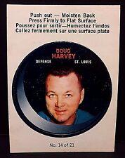 DOUG HARVEY 1968-69 O-Pee-Chee PUCK Stickers #14 RARE Vintage ST. LOUIS BLUES L1