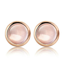 New Fashion Rose Gold Earrings Jewelry Womens Pink Crystal Round Ear Stud