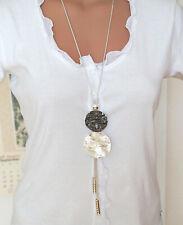 Lang Bettelkette Statement Halskette Kette Collier Silber Schwarz Strass