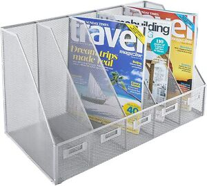 5 Slot Magazine Rack Wire Mesh BY OSCO IN Silver