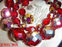 Vintage 1950s SIAM RED RAINBOW AURORA BOREALIS CRYSTAL Bead NECKLACE FAB CLASP