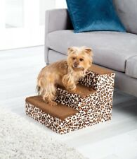 "Soft Leopard Print Dog Pet Step - 12 1/2"" Small Dog Cat Stairs Set"
