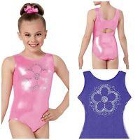 NEW Sparkle Sequin Flower Foil Metallic Mystique Dance Gymnastics Leotard Child