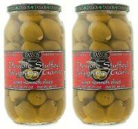 Jalapeno & Garlic Stuffed Olives by Tassos - Pack of 2 Jars - 35oz