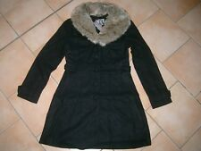 Lipsy London Damen Winter Jacke Wollmantel mit Fellkragen A-Form + Taschen gr.42