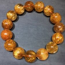14.2mm Natural Copper Rutilated QuartzCrystal Round Beads Bracelet  AAAA