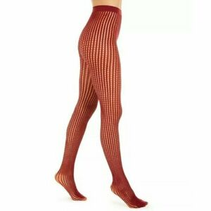 DKNY Womens Size Medium/Tall Fashion Net Tights Crimson Red Sheer DYF045 $20