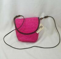 """Magid Handbag Pink Straw Small Cross Body """"Heart and Home"""" Style NEW WITH TAGS"""