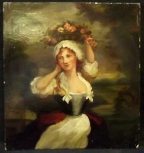JAMES JOHN HILL 1811–82 British Antique Romantic Oil Painting THE FLOWER SELLER