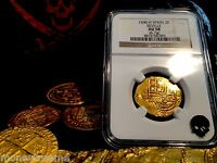 """SPAIN 2 ESCUDOS """"DATED 1590!"""" SEVILLE MINT NGC 58 GOLD DOUBLOON COB COIN JEWELRY"""