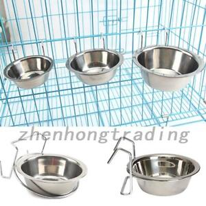 Stainless Steel Hang-on Bowl Metal For Pet Dog Cat Crate Cage Durable