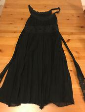 Morrissey Vintage Gathered Black Empire Waist Lace Dress sz10 Silk LBD