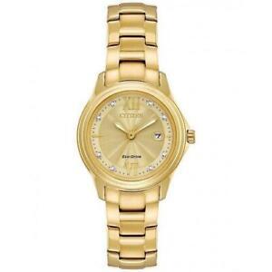 Citizen Ladies FE1132-84P Eco-Drive Gold Plated Diamond Set Watch RRP £269.00