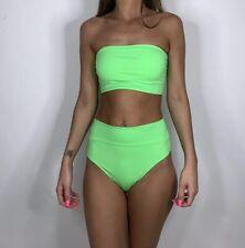Neon Green Bandeau Bikini High Waisted Bikini Bottoms Festival Wear Padded