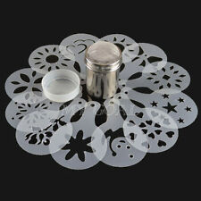Stainless Steel Chocolate Shaker Duster + 12x Cappuccino Coffee Barista Stencils