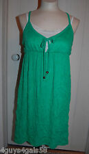 Womens Mini Dress GREEN Krinkle S 4-6 Thin Strap WHITE INSERT Rear Wood Ring