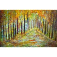Fall Forest Rain Large Painting Impasto Oil on Canvas Art Luiza Vizoli