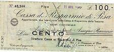 R.S.I. ASSEGNO A TAGLIO FISSO LIRE 100 - 1944