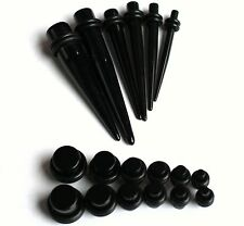 4 Pair Plugs + 4 Pair Tapers Black EAR STRETCHING KIT gauges 14g 12g 10g 8g