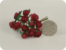 Craft Flowers -12mm Qty x 144 Mini Mulberry Paper Rose - Red